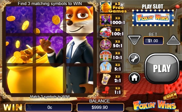 foxin wins scratch card game play