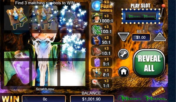 merlins millions scratchcard game